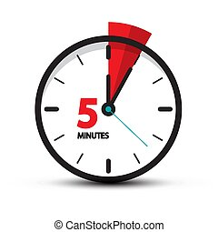 Five Minutes Clock Icon Isolated on White Background. 5 Minutes Vector Time Symbol.