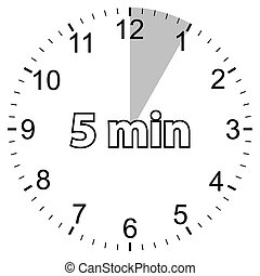 Five minutes - Unique icon of hours with five minutes