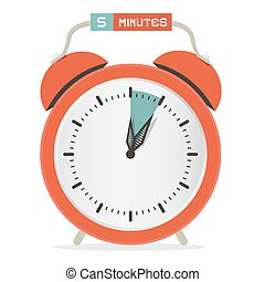 Five Minutes Stop Watch - Alarm Clock Vector Illustration
