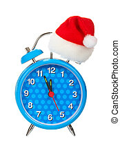 Five minutes to New Year - Blue alarm clock with christmas ...
