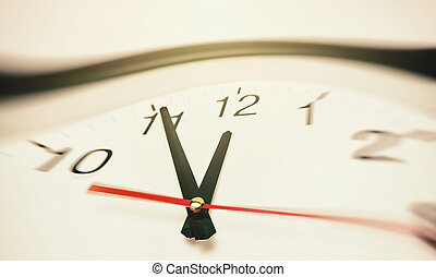 five minutes to twelve on a classic black round wall clock...