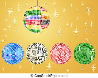 five mirror balls