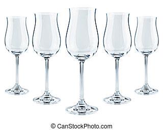 goblets - five modern goblets over the white background