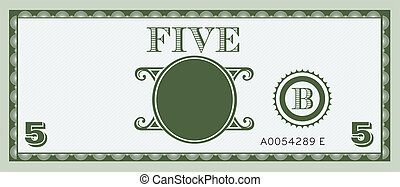 Five money bill image. With space to add your text, information and image
