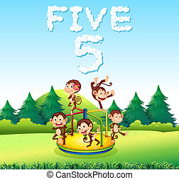 Five monkey playing at playground