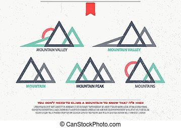 five mountains - set of abstract high mountains vector...