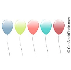 Five multicolor balloons isolated on white