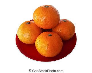 Mandarin Orange - Five nice to eat Mandarin Orange on red...