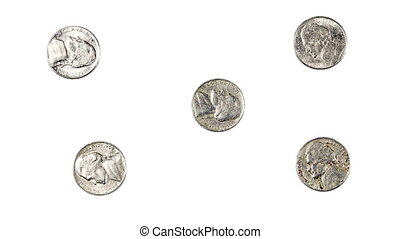 Stop Motion 5 nickles roll together and become a quarter