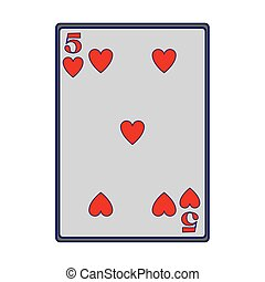 five of hearts card icon, flat design