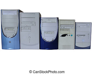 Five old computers on white backgro