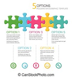 Five options modern infographic template