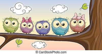Five Owls is sitting on a brunch - Five Cute Owls is sitting...