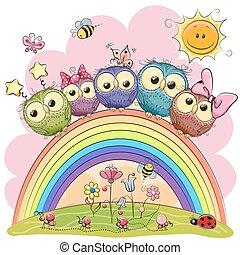 Five Owls on the rainbow
