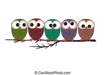 owls - five owls sitting on a branch