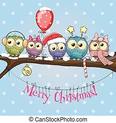 Five Owls - Greeting Christmas card Five Owls on a branch...