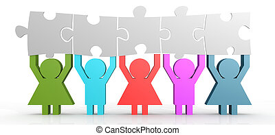 Five people hold puzzle in a line image with hi-res rendered...