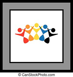 Five people logo icon holding hands - vector graphic