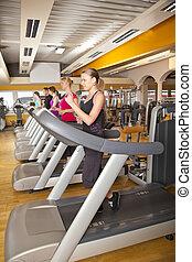 five people running on treadmills