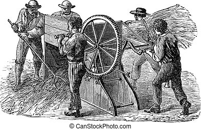 Old engraved illustration of five people using threshing machine also known as thrashing machine in the field. Industrial encyclopedia E.-O. Lami - 1875.