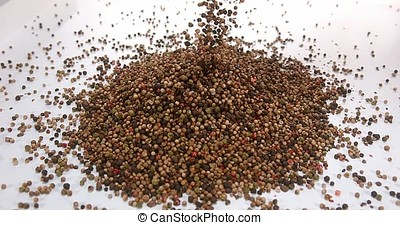 Five Peppercorns falling against White Background, Slow...
