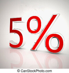 Five per cent over white reflecting background, 3d rendering