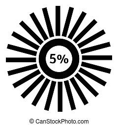 Five percent download icon, simple style