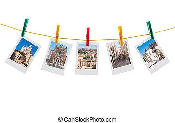 Five photos of Coimbra on clothesline