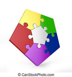 five piece 3d puzzle