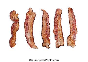 five pieces of crispy bacon