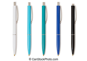 Five plastic pens on white isolated background.