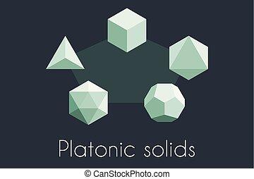 Five Platonic solids. Sacred geometry vector illustration. ...