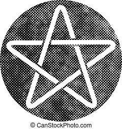 Five point star vector icon with pixel print halftone dots texture.