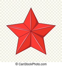 Five-pointed red star icon, cartoon style