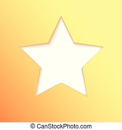 Five-pointed star cut from paper, idea for banner. Yellow paper shapes for card, poster, brochure, flyer with place for text. Carving art, 3d illustration, abstract background.
