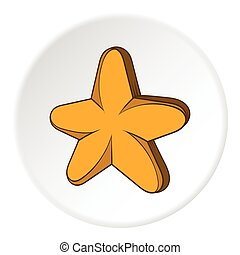 Five pointed star icon, cartoon style