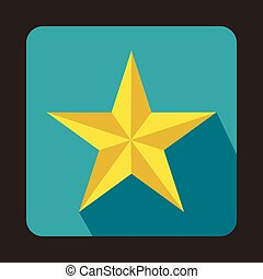 Five pointed star icon in flat style