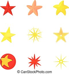 Five-pointed star icons set, cartoon style