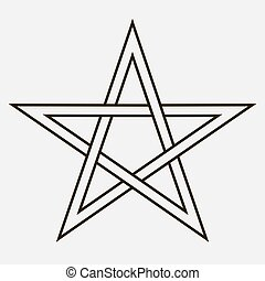 Five-pointed star - Isolated five pointed star sign on white...
