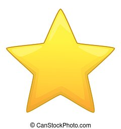 Five pointed yellow star icon, cartoon style
