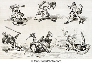 Five points drawings - Six old illustrations of characters ...