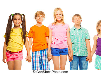 Five pretty kids in a row on white