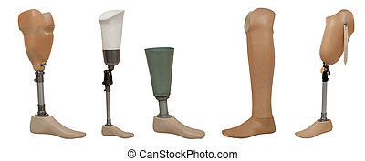 Five prosthetic leg isolated on a white background