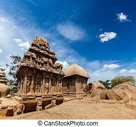 Five Rathas. Mahabalipuram, Tamil Nadu, South India - Five...
