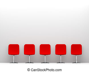 Five Red Chairs in the White Interior. Copy Space on the Wall
