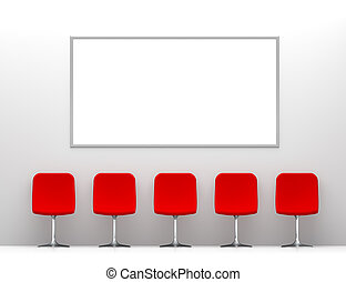 Five Red Chairs in the White Interior with Billboard on the Wall