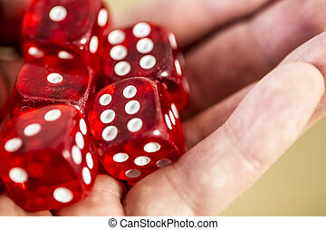 dice in the hand