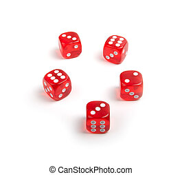 red dices - five red dices isolated on a white background