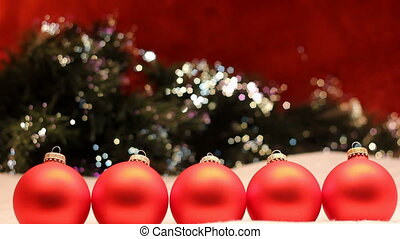 five red ornament row