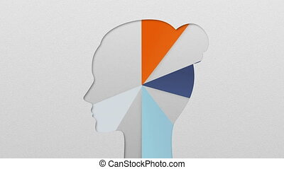 Five result shape of woman head for diagram, chart....